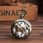 Antique Bronze Horse Hollow Quartz Pocket Watch Necklace Chain Pendant Watches