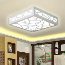 Flush Ceiling Light Wood Fixture Carving Water Square LED Chandeliers