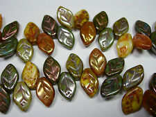 41 beads - Picasso Mix Green/Gold Czech Glass Side Drilled Leaf Beads 5x12mm