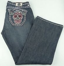 New Laguna Beach Men's Jeans W42 L36 Hand Stitched Distressed Sugar Skulls