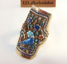 China Emaille Ring Silber Emaile Emaileschmuck old silver enamel ring / AM 016