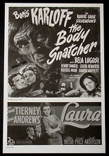 BORIS KARLOFF BELA LUGOSI MOVIE AD POSTER OF 1945 HORROR FILM THE BODY SNATCHER