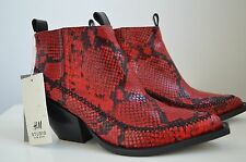 Runway H&M STUDIO AW 2016 Snake Print Ankle Boots Real Leather Red Cowboy 41 EU