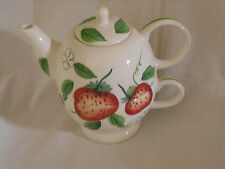 Cup For One Teapot 3 Pieces Strawberries Cherries Heart EUC