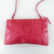 Vintage 80's Pink Snakeskin Clutch Shoulder Bag Purse