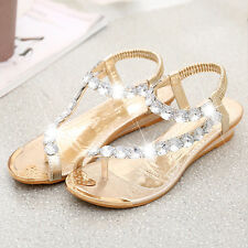 Women Ladies Flat Diamante Toe Sandals Girls Summer Flip Flops Beach Party Shoes