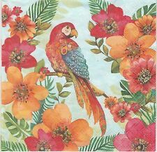 2 Serviettes en papier Perroquet Ara Oiseau - Paper Napkins Tropical Parrot
