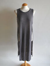 Ladies River Island Grey Marl Round Neck Sleeveless Split Maxi Vest Tunic Top 10