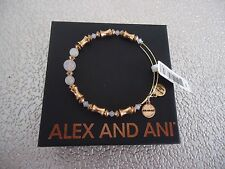 Alex and Ani ROSE QUARTZ Russian Gold Beaded Bangle New W /Tag Card & Box