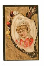 Victorian Trade Card DIAMOND DYES Child in Oyster Shell Christlieb & Lydiard