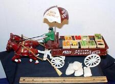 Vintage Cast Iron Fresh Fruit & Vegetables Toy Horse Drawn Wagon Flour Sacks !