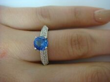 1.10 CT T.W. GENUINE TANZANITE AND DIAMONDS ENGAGEMENT RING 14K WHITE GOLD