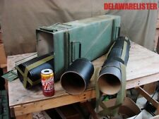 """120 mm Lg. Metal Ammo Can with 2/two empty ordinance tubes 32"""" inch tall RARE!!!"""