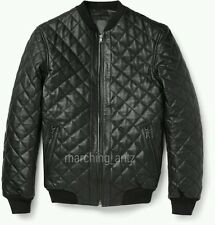 TAILOR MADE DESIGNER LEATHER BOMBER QUILTED JACKET COAT CASUAL gQlt Men all size