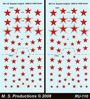 1/144 FOW Decals RU-110 Russian Soviet Red Stars White Outline