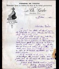 """SANCOINS (18) PIERRES de VOLVIC / TAILLEUR de PIERRES ,MARBRERIE """"Ch GERBE"""" 1922"""