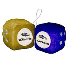 """ONE SET OF BALTIMORE RAVENS,OFFICIALLY LICENSED, 3 """", FUZZY DICE"""