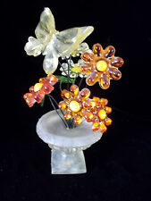 Vintage 60's Lucite Resin Butterfly Flower Power Decoration in Vase Gamut Design