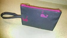 New Lilly Pulitzer Pink Whale Denim Wristlet Bag Clutch Wallet