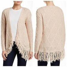 New $58 Cotton Emporium Cable Fringe Cardigan Sweater Open Front Blush Small NWT
