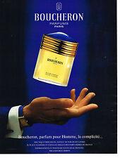 PUBLICITE ADVERTISING 094  1991  BOUCHERON   parfum homme