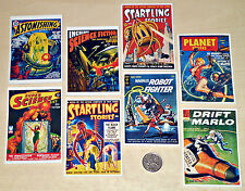 8 Printed Card Toppers - Vintage 50's PULP SCIENCE FICTION BOOK COVERS