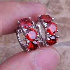 Fabulous Red Garnet 925 Sterling Silver Overlay Huggie Hoop Earrings Women no.54