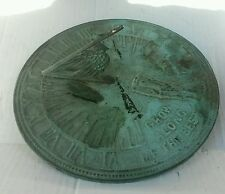 "Sundial with Bird Gnomon ""Grow Old Along With Me..."" Roman Numerals"
