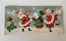 VINTAGE Chistmas Card MR. AND MRS. SANTA CLAUS & Snowman! Music Parade