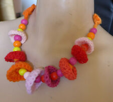 HANDMADE CROCHETED NECKLACE  FIBER ART+BEADS PINK ORANGE AND YELLOW SPECIAL GIFT
