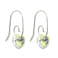 Sterling Silver Love Heart Dangle Earrings Swirl Hook Swarovski Element Crystal