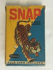 Vintage Whitman SNAP Tiger Card Game USA Animal Playing Cards Crafts Rule Card
