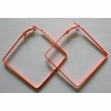 Bijou fantaisie : boucles d'oreille créoles carrées orange fluo , 5 x  5 cm