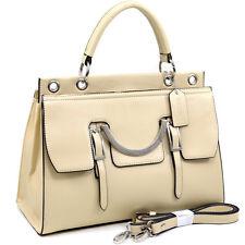 Dasein Women Briefcase Bag Satchel Office Bag with Ellipse Chain Accent Beige