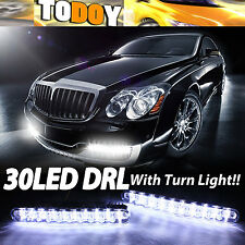 Pair 30 LED DRL Daytime Running Lights White + Amber Turn Signal Light Kit