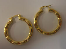 9ct YELLOW GOLD FANCY HOOPS HOOP EARRINGS