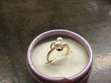 Lustrous Vintage MIKIMOTO PEARL 18kt Yellow Gold Ring 6.5