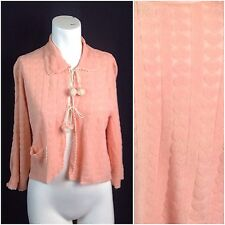 Vintage 1940s Peach Pink Novelty Hearts Semi Sheer Cropped Tie Bed Jacket M