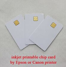 10x IN PLASTICA PVC BIANCO TINTA UNITA Chip sle4428 stampabile a getto d'inchiostro SMART CARD per EPSON