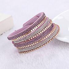 SWAROVSKI ELEMENTS GOLD STUD & Cinturino in pelle con doppio Wrap Bracciale Violet