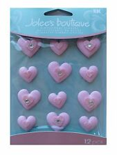 Jolees Cabochons *BABY PINK HEARTS* Dimensional Stickers - Party Favours - Musk