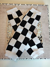 girls boys infant toddler child leg warmers arm warmers black white check rocker