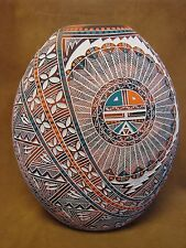 Native American Pottery Large Hand Etched Sunface Vase by RN Sanchez! Acoma