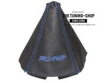 """For Mazda RX-8 2003-11 4 Panels Shift Boot Black Leather Blue """"RX-8"""" Embroidery"""