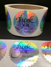 "500 Thank You for your business 2"" STICKER Starburst Holographic Paper Fragile"
