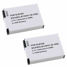 2 Battery SLB-10A for Samsung L100 L110 L210 SL420 M110 L200 P800 SL620 SL820