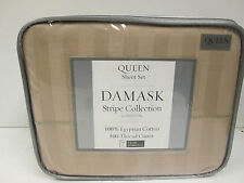 Wheat Color Queen Sheet Set Damask Stripe Collection