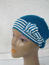 BEBE hat beret stripped blue white bow knit 201229
