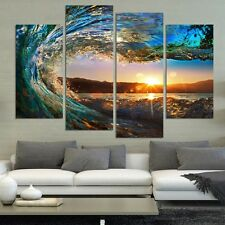 Unframed 4 Panel Seascape Painting Canvas Art HD Sea Wave Landscape Wall Picture