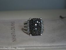 DAVID YURMAN WHEATON RING 16 X 12 BLACK PAVE DIAMOND STERLING SILVER RING SIZE 6